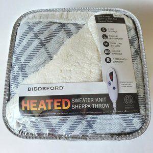 Biddeford Heated Grey Sweater Knit Sherpa Throw.